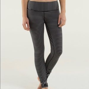 Lululemon Black & White Striped Wunder Under Pant